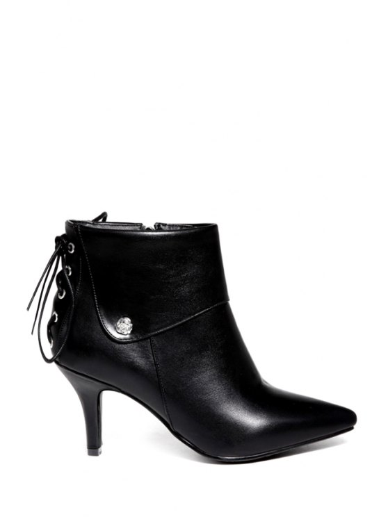 women's Criss-Cross Pointed Toe Ankle Boots - BLACK 34
