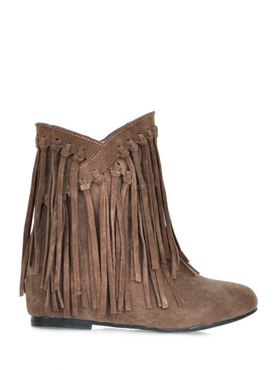 trendy Solid Color Suede Fringe Short Boots - BROWN 34