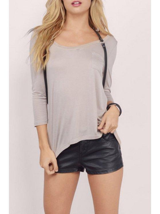 fashion 3/4 Sleeve One Pocket T-Shirt - PINK L