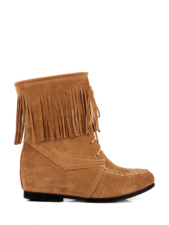 chic Suede Fringe Lace-Up Short Boots - BROWN 34