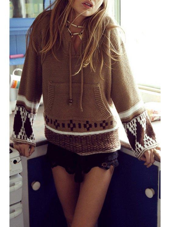 ladies Ethnic Pattern Hooded Long Sleeve Jumper - COFFEE S