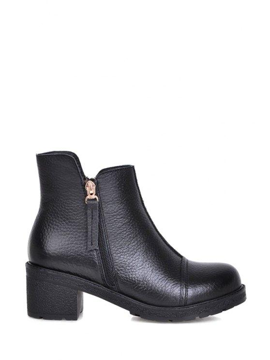 women's Black Embossing Chunky Heel Short Boots - BLACK 34