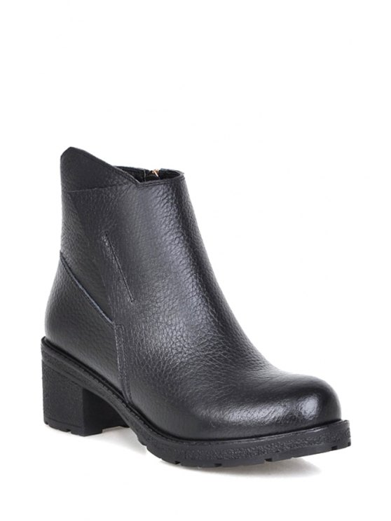 shops Embossing Chunky Heel Black Short Boots - BLACK 34
