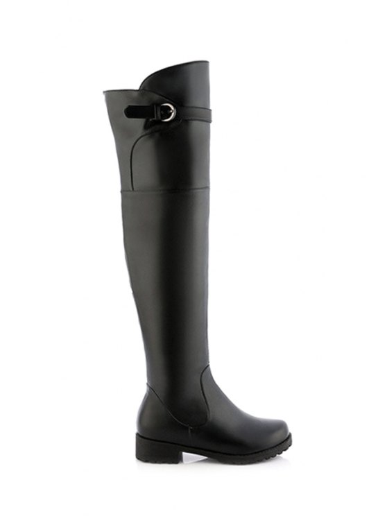 new Solid Color Buckle Low Heel Thigh Boots - BLACK 34
