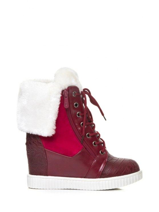shops Splicing Embossing Hidden Wedge Short Boots - RED 34