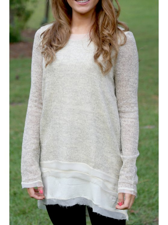 new Spliced Round Collar Long Sleeves T-Shirt - LIGHT GRAY S