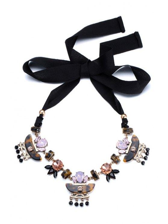 womens Rhinestone Jewelry Sweater Chain - BLACK