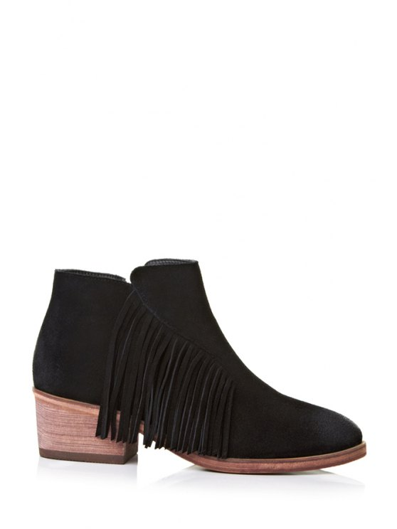 latest Solid Color Chunky Heel Fringe Ankle Boots - BLACK 34