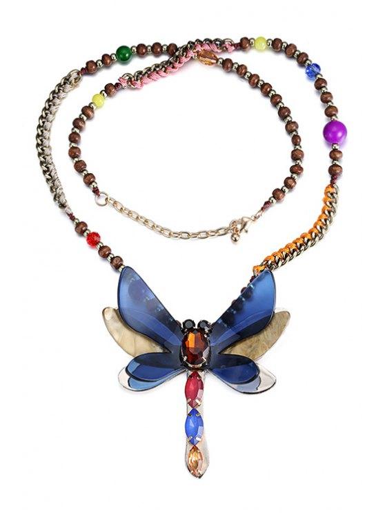women Butterfly Pendant Jewelry Sweater Chain - BLUE