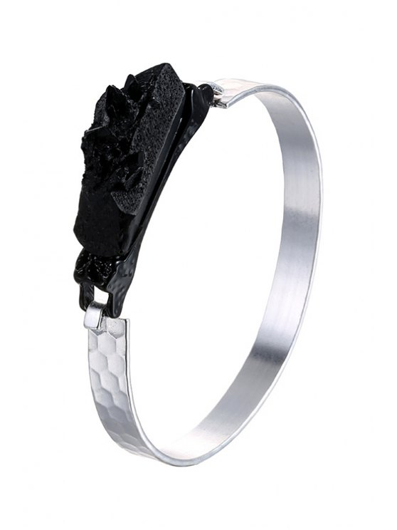 lady Black Resin Metal Bracelet - SILVER