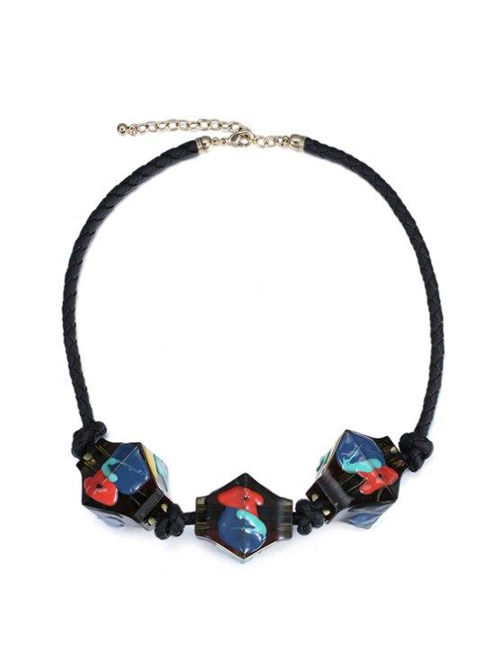 unique Resin Statement Necklace - BLACK