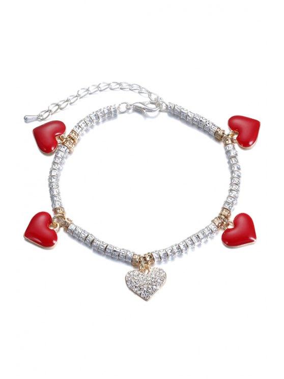 new Heart Rhinestone Chain Bracelet - SILVER