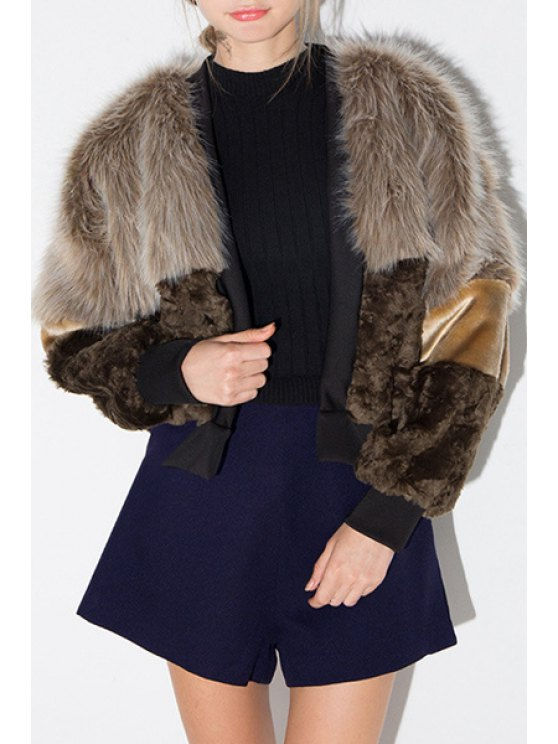 hot Faux Fur Spliced Long Sleeves Coat - DUN XS