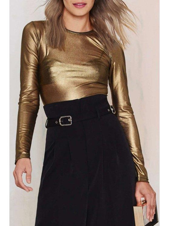 womens Long Sleeve See-Through T-Shirt - GOLDEN XS
