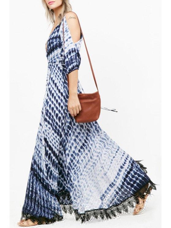 chic Split Sleeve Printed Lace Hem Maxi Dress - BLUE XS