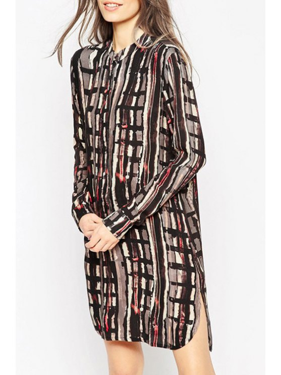 chic Long Sleeve Abstract Print Side Slit Dress - COLORMIX XS