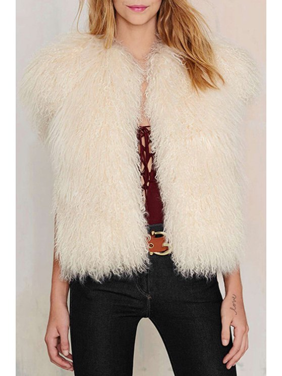 affordable White Faux Fur Pocket Design Waistcoat - WHITE XS