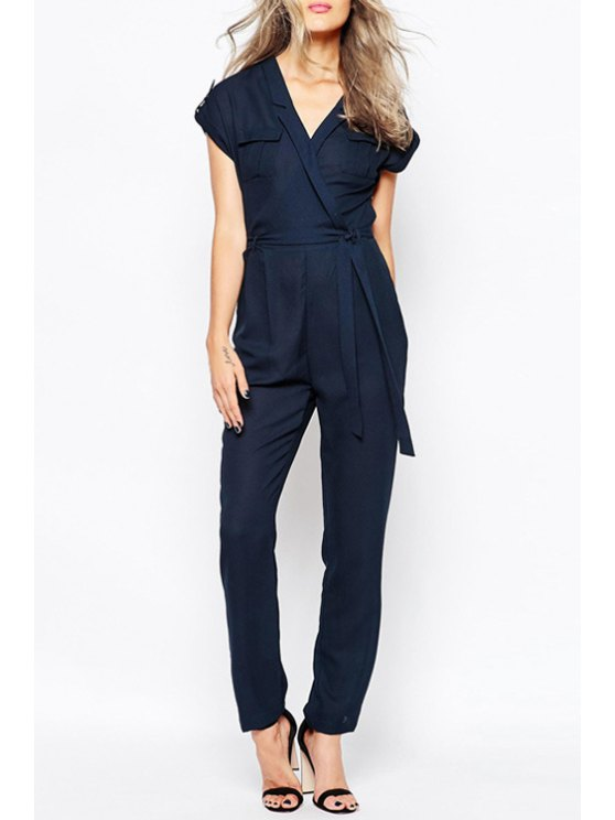 hot Cross-Over Collar Short Sleeve Tie-Up Jumpsuit - BLUE XS
