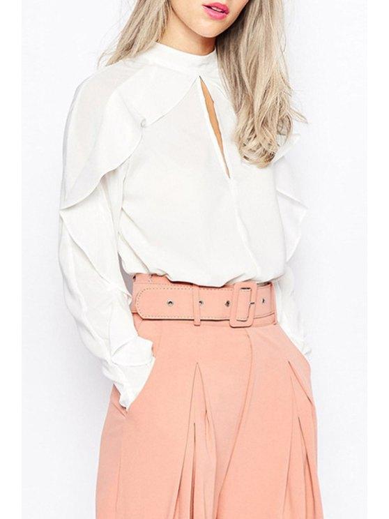 shops Half-Collar Long Sleeve Frilled White Shirt - WHITE XS