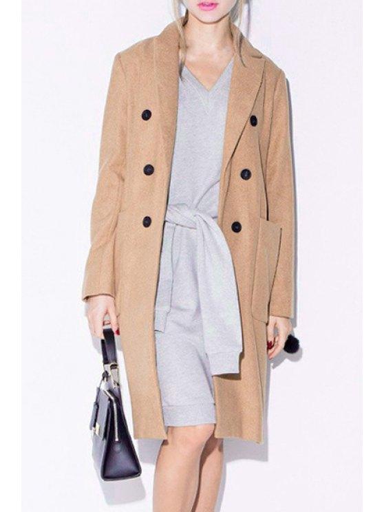 lady Big Pockets Double-Breasted Khaki Coat - KHAKI XS
