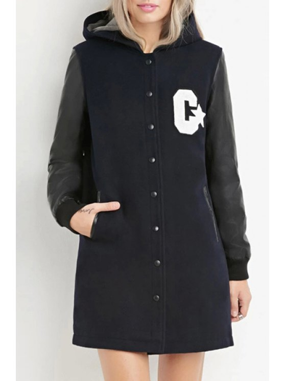 outfits Hooded Letter Pattern Color Block Coat - BLACK XS