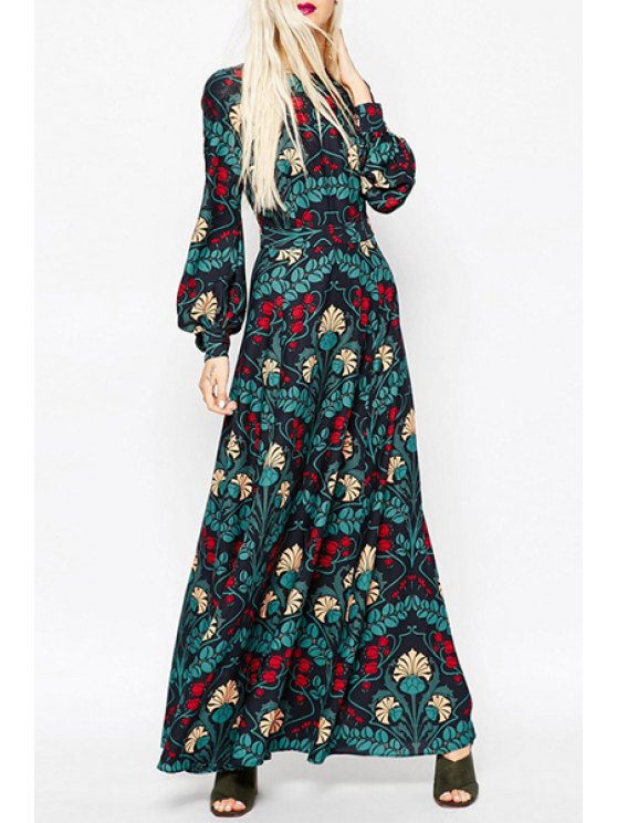 womens Lantern Sleeve Keyhole Design Printed Dress - COLORMIX XS