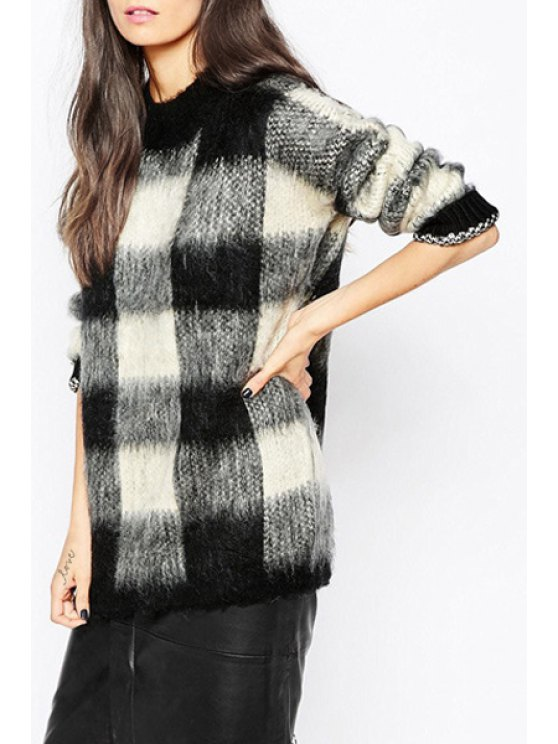 lady Long Sleeve Plaid Fuzzy Sweater - WHITE AND BLACK S
