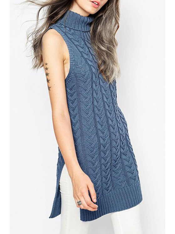 womens Solid Color Turtle Neck Sleeveless Sweater - BLUE S