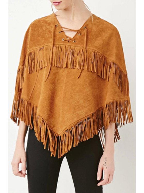 chic Fringed Grommet Design Poncho - CAMEL XS