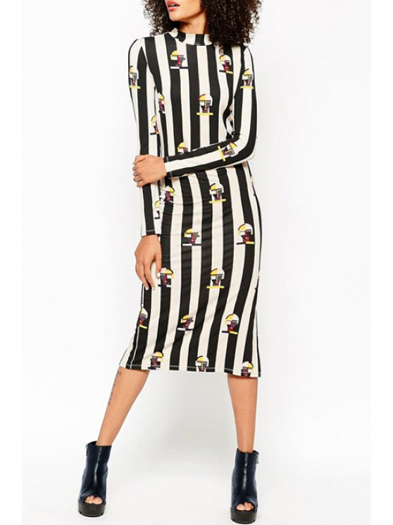 shops Printed Striped Stand Collar Long Sleeves Dress - BLACK S