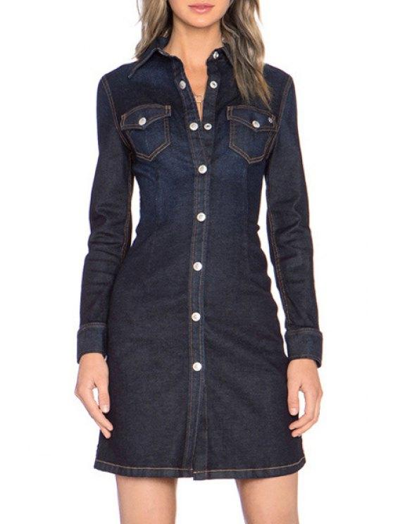 fancy Solid Color Denim Shirt Collar Long Sleeves Dress - PURPLISH BLUE XS