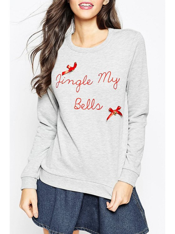 chic Letter Pattern Round Collar Long Sleeves Sweatshirt - GRAY XS