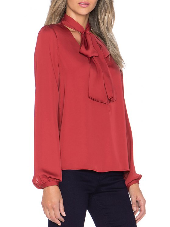shops Solid Color Bowtie V-Neck Shirt - RED XS
