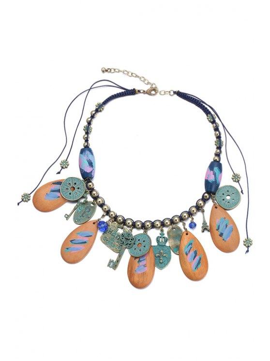 women Key Pendant Statement Necklace - BROWN