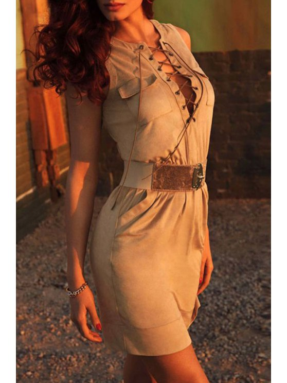 new Lace-Up Packet Buttocks Suede Dress - KHAKI ONE SIZE(FIT SIZE XS TO M)