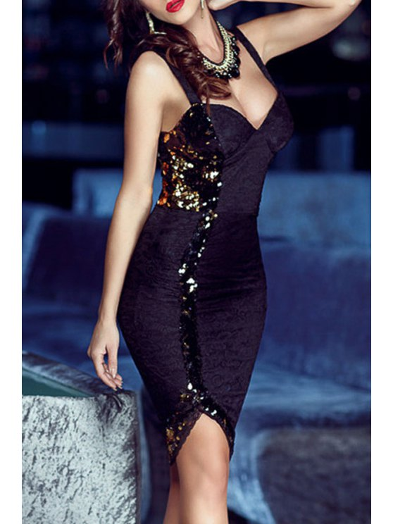 hot Sequined Packet Buttocks Club Dress - BLACK M