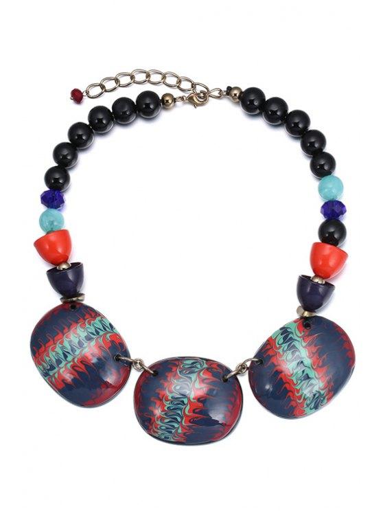 women's Ethnic Beaded Statement Necklace - PURPLISH BLUE