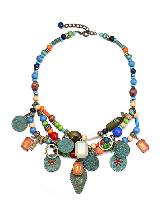 ladies Multilayered Pendant Beaded Necklace - COLORMIX