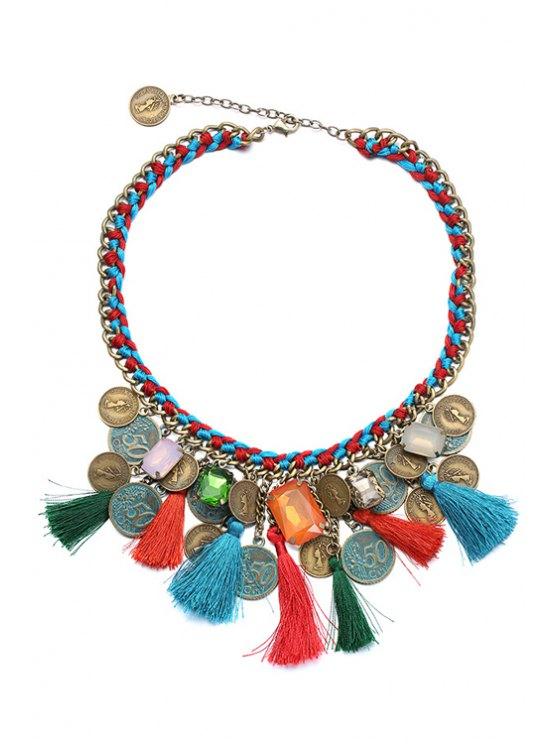 lady Ethnic Tassel Statement Necklace - COLORMIX