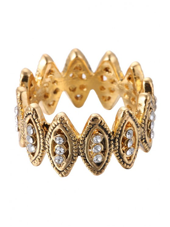 shops Rhinestone Hollow Out Ring - GOLDEN