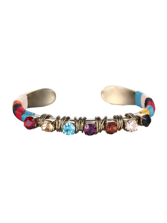 ladies Colorful Rhinestone Cuff Bracelet - COLORMIX