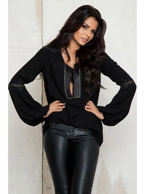 shops Lantern Sleeve Lace Patchwork Black T-Shirt - BLACK ONE SIZE(FIT SIZE XS TO M)