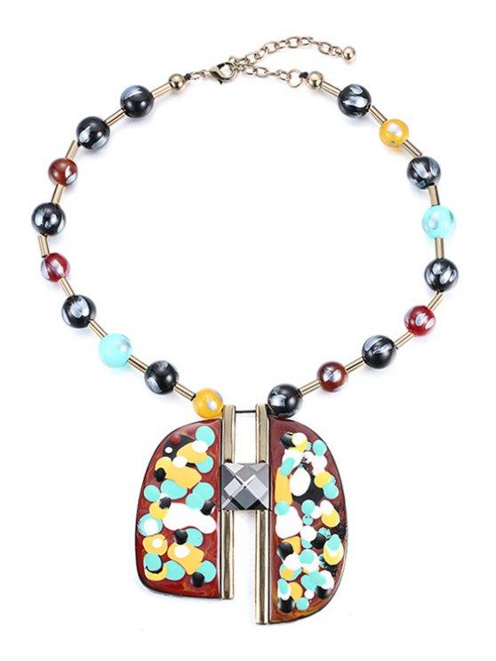 online Oil Drip Pendant Beaded Necklace - COLORMIX