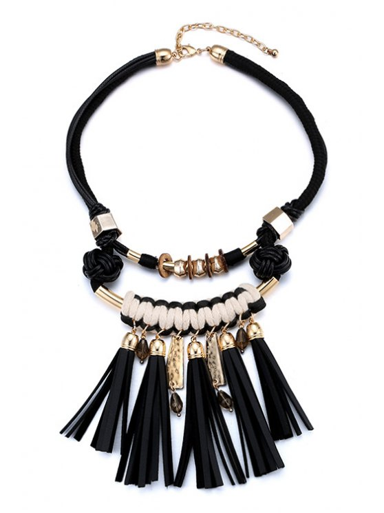 new Double-Deck Tassel Statement Necklace - BLACK