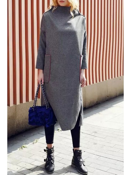 buy Half-Collar Big Pocket Gray Dress - GRAY ONE SIZE(FIT SIZE XS TO M)