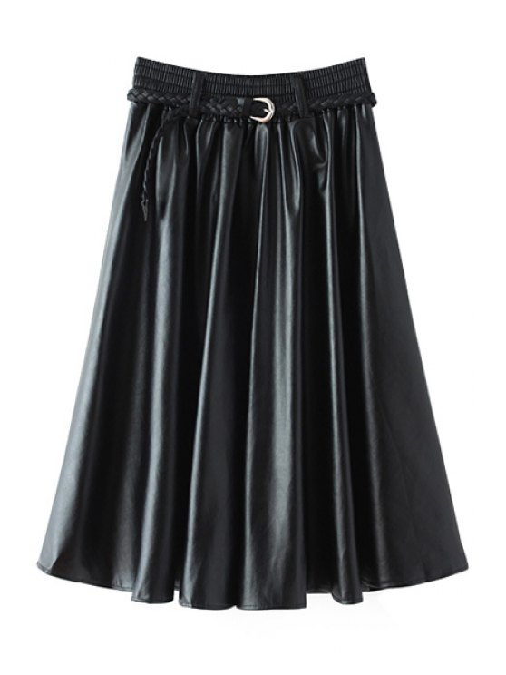 best A-Line Black PU Leather Skirt - BLACK ONE SIZE(FIT SIZE XS TO M)