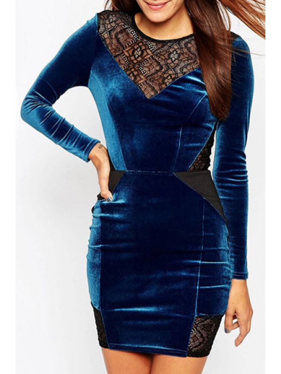 lady Color Block Lace Patchwork Sheath Dress - BLUE ONE SIZE(FIT SIZE XS TO M)