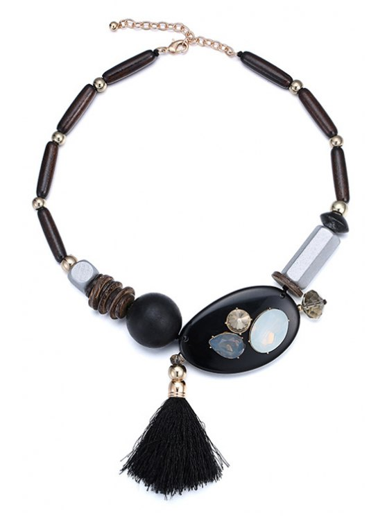 outfits Tassel Wood Bead Chokers Necklace - BLACK