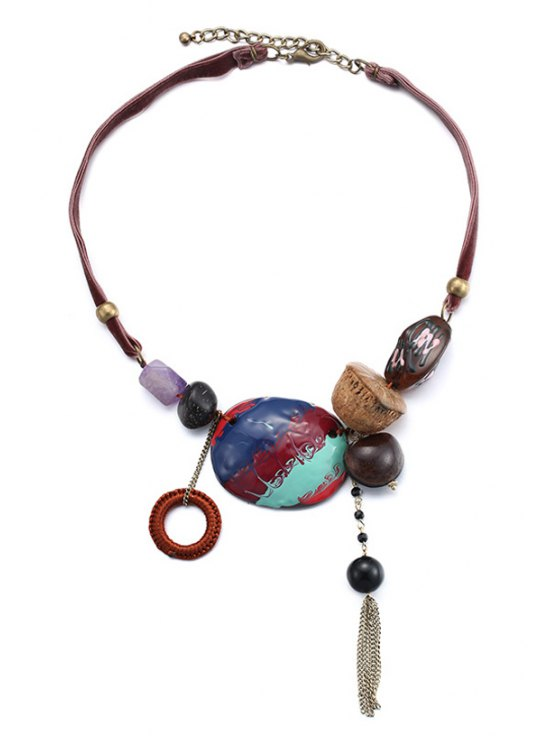 latest Tassel Oil Drip Chokers Necklace - COLORMIX