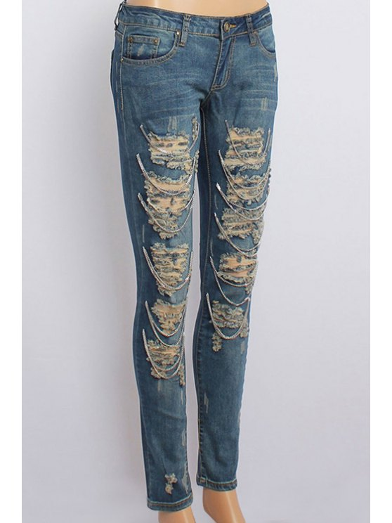 chic Ripped Metal Chain Embellished Jeans - BLUE M